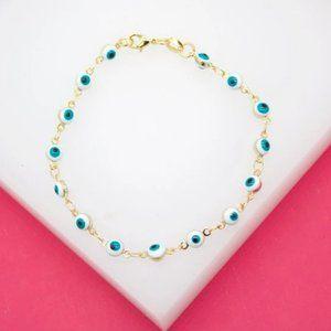 18K Gold Filled White Evil Eye Bracelet (I215)